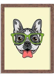 Quadro Decorativo Bulldog Francês Com Óculos Verde Madeira - Médio