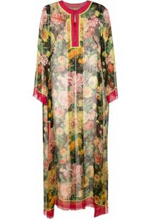 Dolce & Gabbana Vestido Longo Estampado De Seda