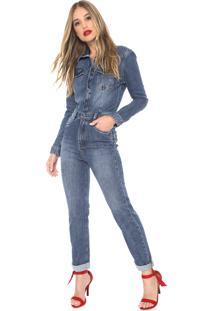 Macacão Jeans Carmim Slim Wall Street Azul