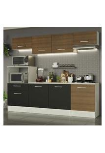 Cozinha Completa Madesa Onix 240003 Com Armário E Balcáo - Branco/Rustic/Preto 097K Branco
