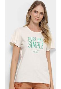 Camiseta Colcci Pure And Simple Feminina - Feminino-Creme