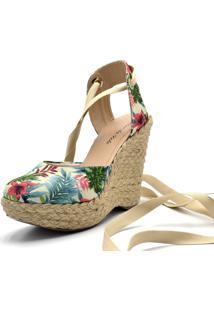 Sandália Espadrille Calzaph Plataforma Floral Bege