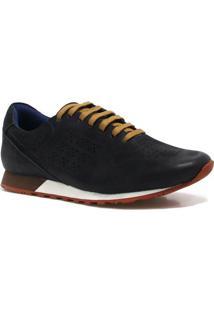 Sapatênis Zariff Shoes Casual Couro - Masculino-Preto+Azul