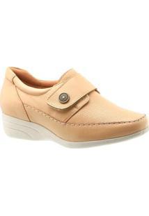 Sapato Conforto Doctor Shoes Anabela Couro Porcelana Conforto Feminino - Feminino-Creme