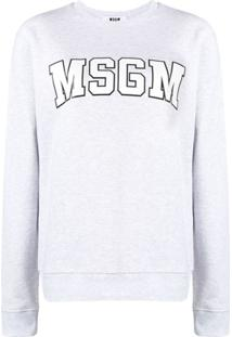 Msgm Blusa De Moletom Com Logo - Cinza