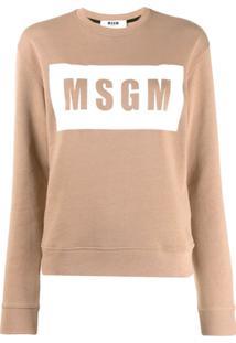 Msgm Blusa De Moletom Com Logo - Marrom