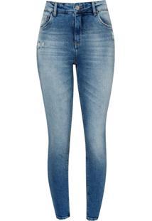 Calça Le Lis Blanc Paula Capri Washed Jeans Azul Feminina (Jeans Claro, 46)