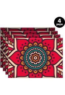 Kit 4Pçs Jogo Americano Mdecor Abstrato 40X28Cm Rosa