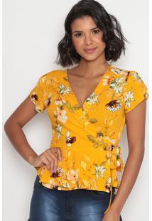 Blusa Floral Com Amarraã§Ã£O E Transpasse-Amarela & Brancavip Reserva