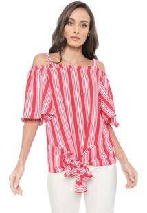 Blusa Ciganinha Ana Hickmann Listrada Vermelha/Branca