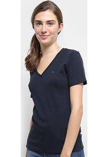 Camiseta Tommy Hilfiger Im A Cody Round Top Feminina - Feminino-Azul+Marinho