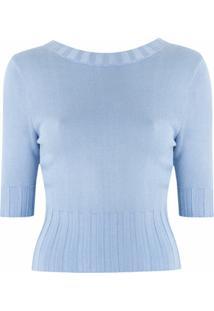 Andrea Bogosian Blusa Cropped Sartem De Tricô - Azul