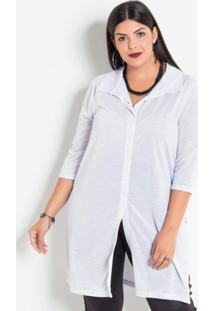 Camisa Alongada Com Fendas Branca Plus Size