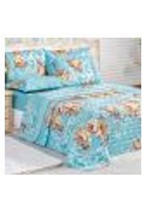 Cobre Leito Solteiro Floral Azul Estampado + Jogo De Cama Floral Azul 5 Peças 200 Fios