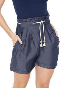 Bermuda Jeans Dimy Reta Cordão Azul-Marinho