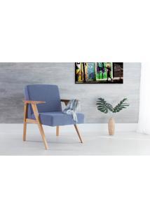 Poltrona Pequena Com Braços Tecido Azul Claro Théo - Verniz Amendoa \ Tec.930 - 63X71X83 Cm