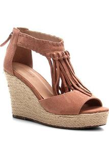 Sandália Anabela Shoestock Corda Franja Feminina - Feminino-Bege