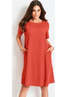 Vestido Com Bolsos Vermelho