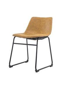 Cadeira Turtle Assento Courino Caramelo Com Base Aco Preto - 53184 Preto