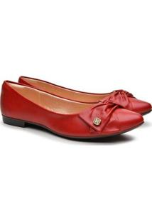 Sapatilha Feminina Bico Fino Laço Casual Fashion Conforto - Feminino-Vermelho
