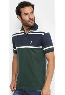 Camisa Polo Aleatory Malha Fio Tinto Masculina - Masculino-Marinho+Verde