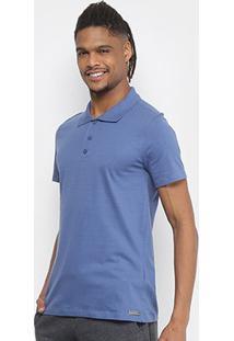 Camisa Polo Kohmar Básica Malha Masculina - Masculino-Azul