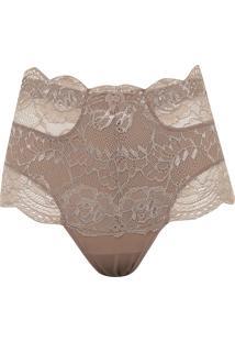 Calça Dilady Hot Pant Redutora Renda Marrom