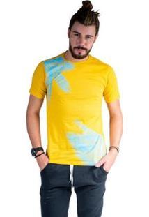 Camiseta Mister Fish Estampado Palmeiras Masculina - Masculino-Mostarda