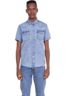 Camisa Levis Jeans Short Sleeve Classic Western Lavagem - Masculino-Azul