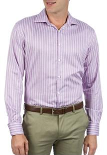 Camisa Social Masculina Lilás Listrada Upper - 2