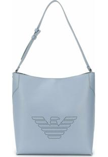 Emporio Armani Bolsa Tiracolo Fretwork Com Logo - Azul