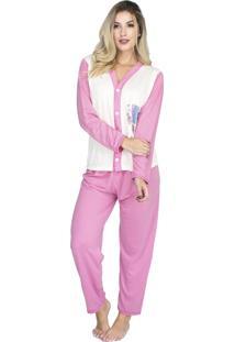 Pijama Longo Bravaa Modas Feminino Blusa Aberta Botões 014 Rosa Claro