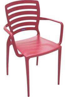 Cadeira Sofia Encosto Vazado Com Braço Vermelha 92036/046 Tramontina