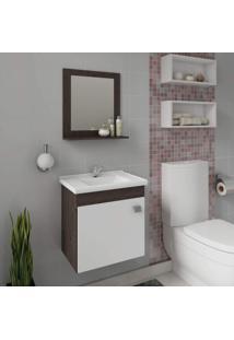 Gabinete Para Banheiro Com Cuba E Espelheira 1 Porta 1 Prateleira Íris Mgm Móveis Branco/Café
