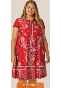 Vestido Vermelho Flores E Listras Em Liganete