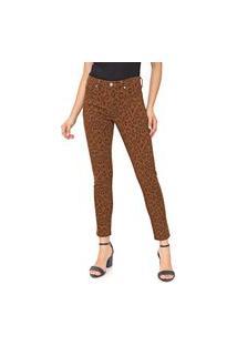 Calça Sarja Banana Republic Skinny Cropped Leopard Caramelo