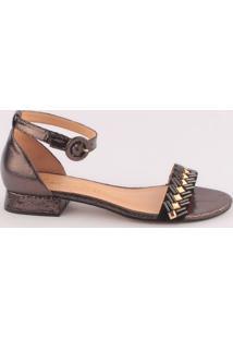 Sandália Em Couro Metalizado - Cinza Escuro & Dourada