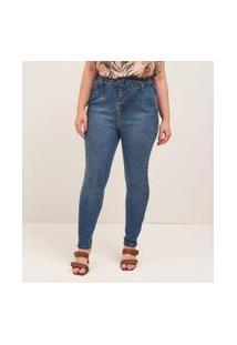 Calça Skinny Jeans Lisa Com Cinto E Fivela Forrada Curve & Plus Size | Ashua Curve E Plus Size | Azul | 50