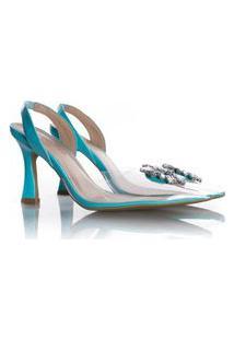 Sapato Scarpin Cinderela Salto Taça Com Vinil Azul Claro