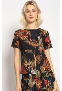 Camiseta Floral Alongada- Preta & Amarela- Sommersommer