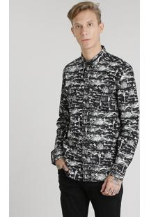 Camisa Masculina Estampada Manga Longa Preta