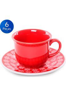 Conjunto De Xícaras P/ Café Com Pires 6 Peças Floreal Renda - Oxford - Vermelho