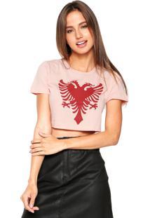 Camiseta Cropped Cavalera Estampada Rosa