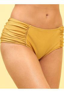 Calcinha Hot Pant Com Franzidos- Dourada- R. Do Solr. Do Sol