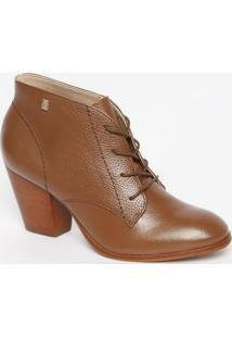 Ankle Boot Em Couro Com Tag - Marrom Claro - Salto: Loucos E Santos