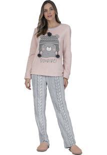 Pijama Fleece Glace Lua Luá Rosa