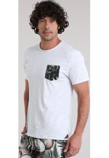 Camiseta Água De Coco Com Bolso Estampado Coqueiros Cinza Mescla Claro