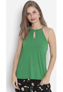 Blusa Com Recortes Vazados - Verdehandara