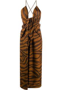 Mara Hoffman Vestido Lolita Com Estampa De Zebra - Preto