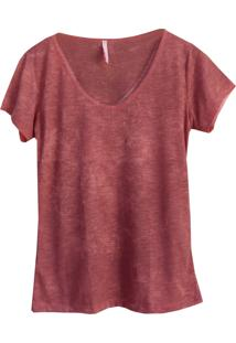 Camiseta Little White Tee Dusty Decote U Rosa